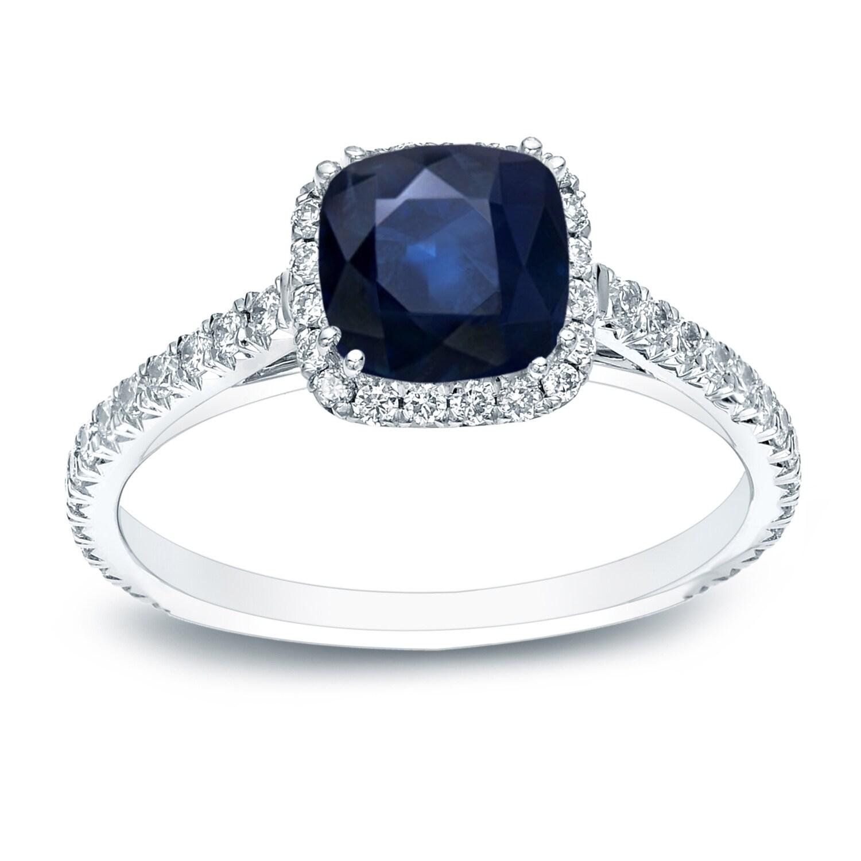 Auriya 14k Gold 3/4ct Cushion cut Blue Sapphire and 3/4ct...
