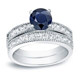 Auriya 14k Gold 4/5ct Blue Sapphire and 1 1/5ct TDW Round Diamond Bridal Ring Set (H-I, SI1-SI2)