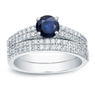 Auriya 14k Gold 3/4ct Blue Sapphire and 3/4ct TDW Round Diamonds Bridal Ring Set (H-I, SI1-SI2)