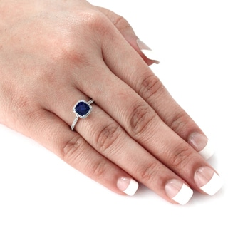 Auriya 14k Gold 1ct Blue Sapphire and 1/2ct TDW Cushion Diamond Engagement Ring (H-I, SI1-SI2)