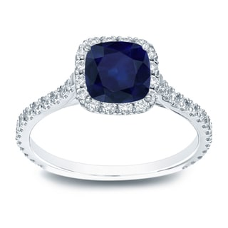 Auriya 14k Gold 1ct Blue Sapphire and 1/2ct TDW Cushion Diamond Engagement Ring (H-I, SI1-SI2)