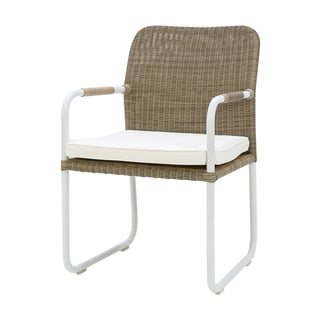 Somette Dulac White Multicolor Wicker Indoor/Outdoor Dining Armchair