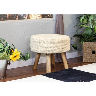 Somette Natural Raffia 18-inch Round Stool