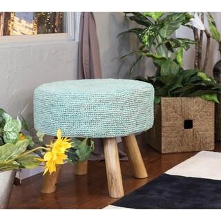 Somette Turquoise Raffia 18-inch Round Stool