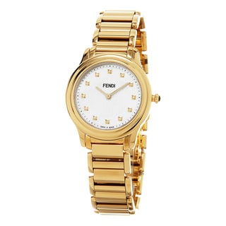 Fendi Women's F251434500D1 'Classico' Mother of Pearl Diamond Dial Yellow Goldtone Stainless Steel Swiss Quartz Watch