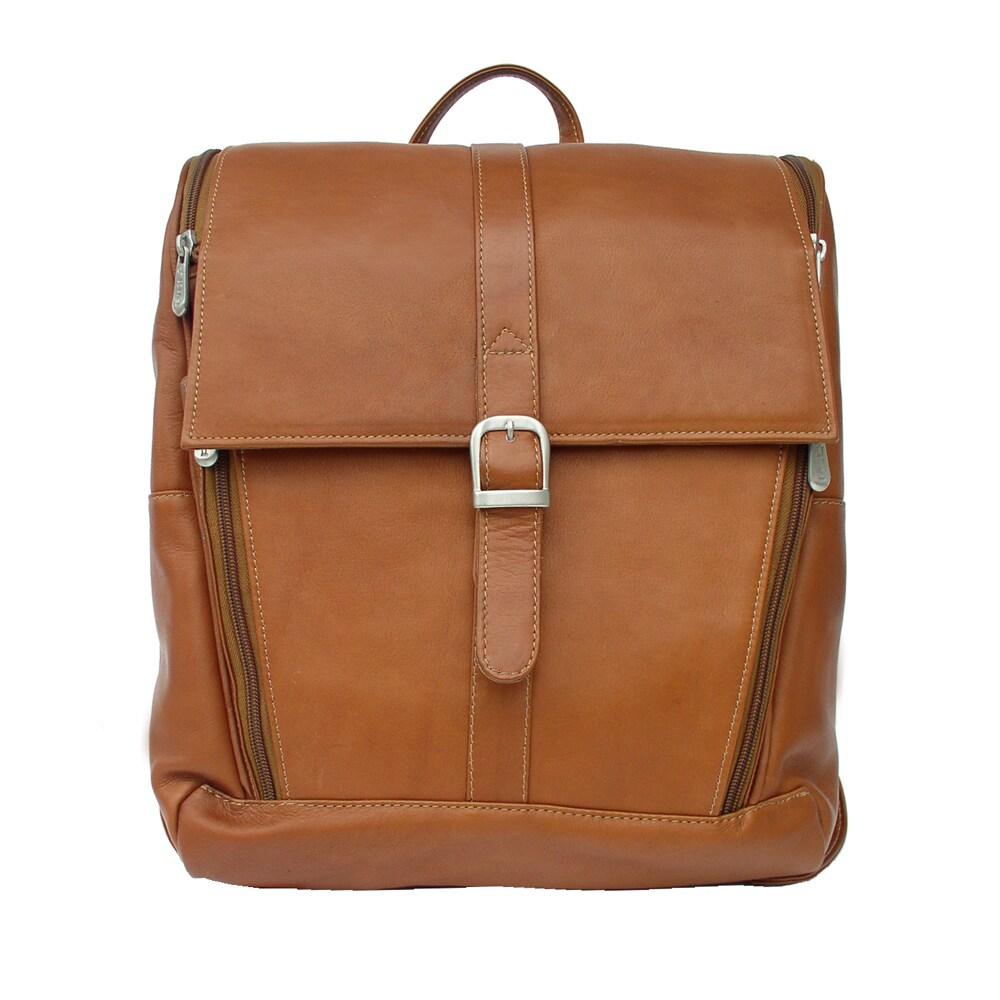 Piel Leather Slim Computer Backpack (Saddle), Brown