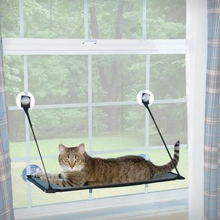 K&H Pet Products Black/Grey Plastic EZ Window Mount Kitty Sill