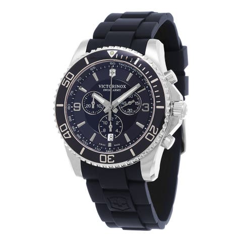 Victorinox Swiss Army Men's 241690 'Maverick' Chronograph Blue Rubber Watch