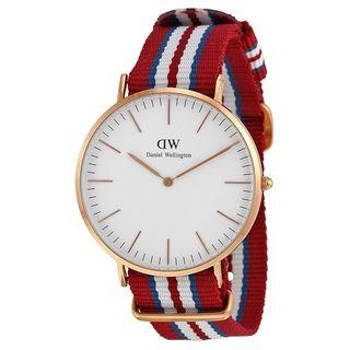 Daniel Wellington Men's 0112DW 'Exeter' Red blue and white Nylon Watch