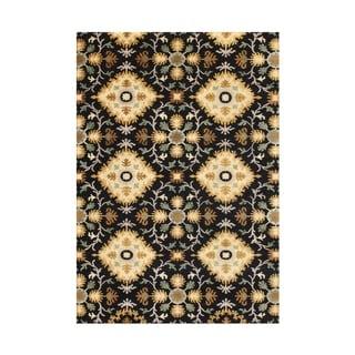 Alliyah Hand Made Cream Ikat New Zealand Blend Wool Rug (5'x8')