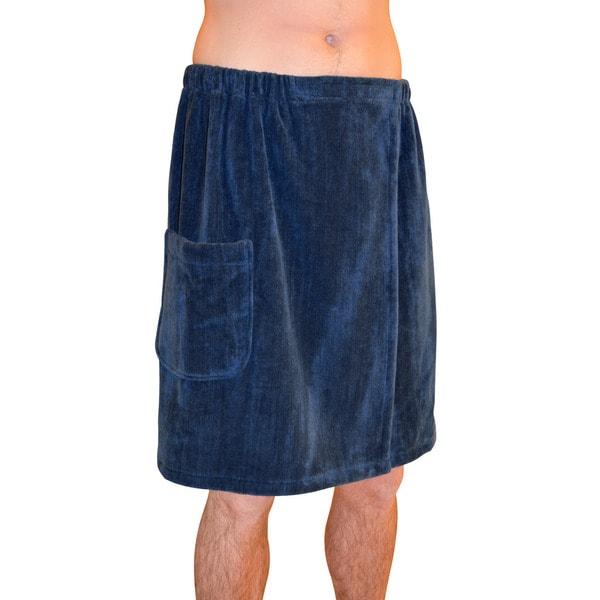 Men's Spa and Bath Terry Cloth Towel Wrap - Navy Blue