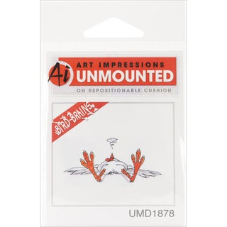 Art Impressions Bird Brains Cling Rubber Stamp 2.5inX1inFainted Chicken