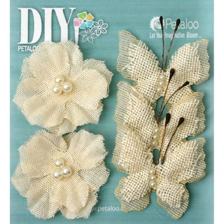 DIY Paintables Burlap Butterflies/Blossoms 1.5in 2in 5/PkgIvory
