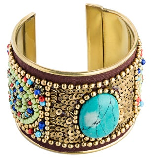 Handmade Turquoise Embroidered Brass Cuff with Velvet and Beads (India)