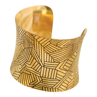 Handmade Patchwork Gold Plated Brass Cuff (India)