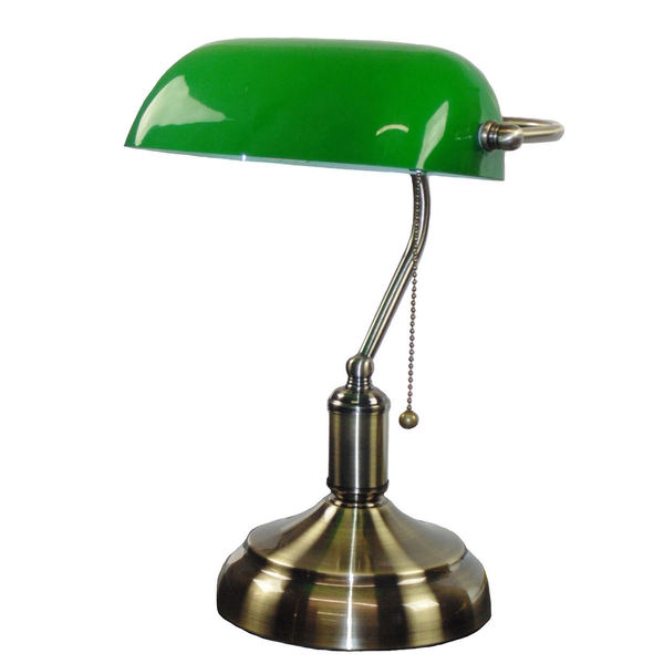 classic bronze green shade bankers lamp free shipping. Black Bedroom Furniture Sets. Home Design Ideas