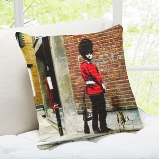 'Pissing Soldier' London Banksy Throw Pillow