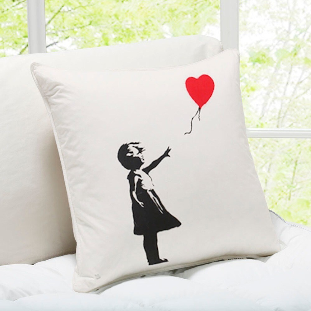 Girl with Baloon White London Banksy Throw Pillow (Girl with Baloon Pillow)