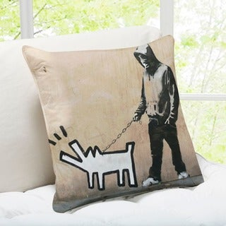 'Choose Your Weapon Dog' London Banksy Throw Pillow