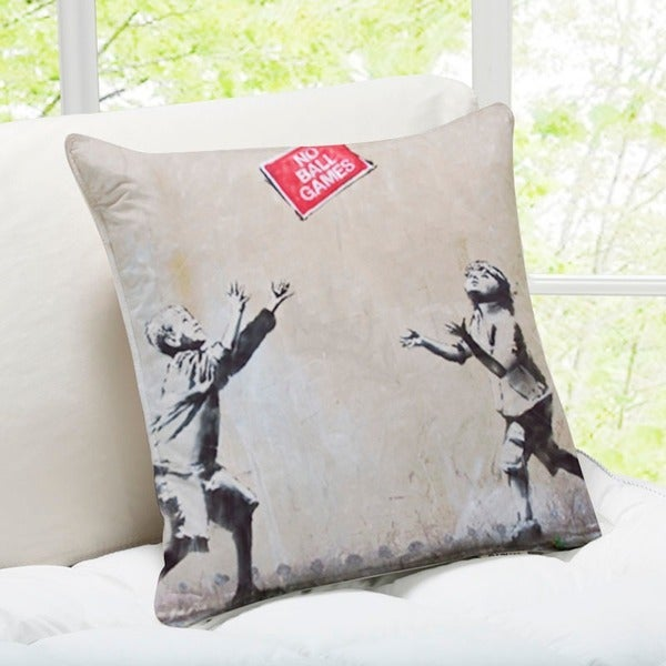 'No Ball Games' London Banksy Throw Pillow