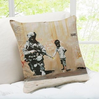 'Soldier Flower Gun Boy' Banksy Throw Pillow
