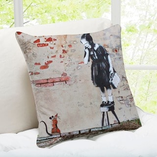 'Girl And Mouse' New Orleans Banksy Throw Pillow
