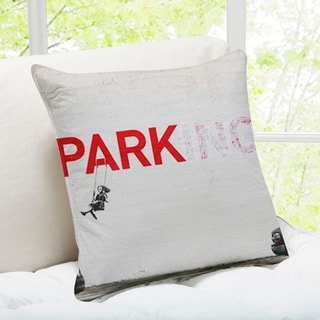 'Parking Swing Girl' Los Angeles Banksy Throw Pillow