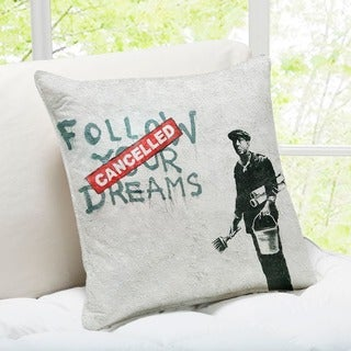 'Follow Your Dreams Cancelled' Boston Banksy Throw Pillow