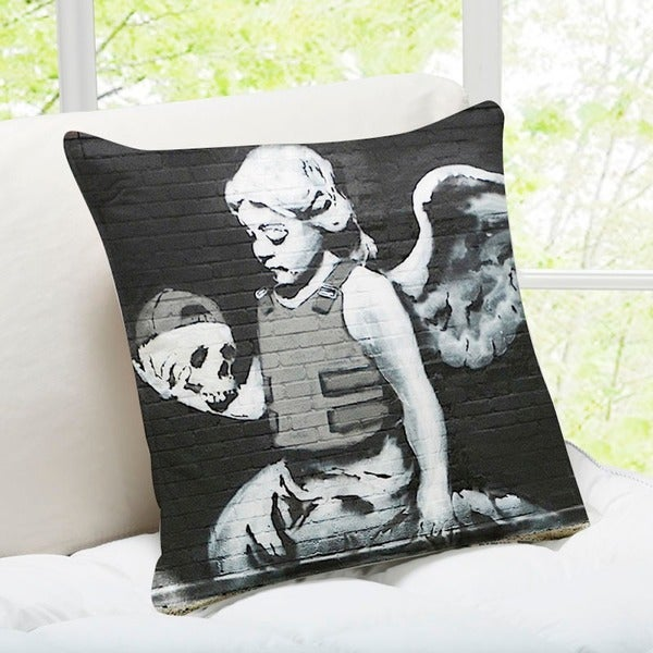 'Fallen Angel' London Banksy Throw Pillow