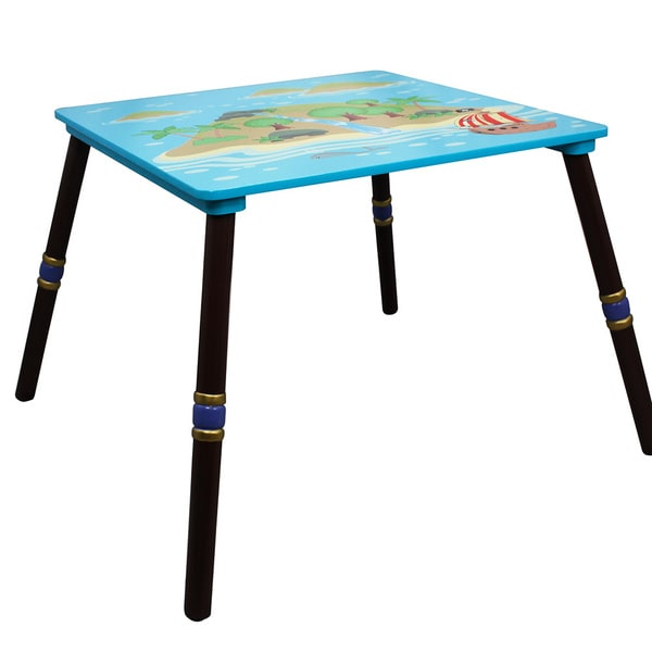 Fantasy Fields TD-11593S-B Table and Set of 2 Chairs Blue//Brown//Pirate Island