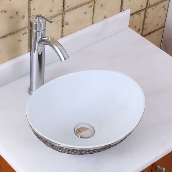 Elite 1574 882002 oval grey white porcelain ceramic bathroom vessel sink with faucet combo for White porcelain bathroom faucets