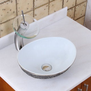 Elite 1574+F22T Oval Grey / White Porcelain Ceramic Bathroom Vessel Sink Waterfall Faucet Combo