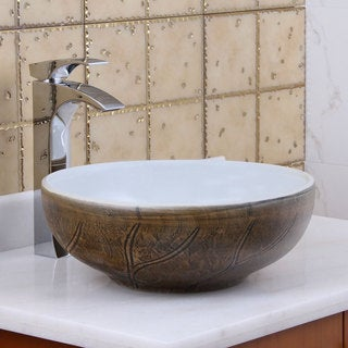 Elite 1576 Round Autumn Leave / White Porcelain Ceramic Bathroom Vessel Sink