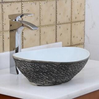 Elite 1574 Oval grey / White Porcelain Ceramic Bathroom Vessel Sink