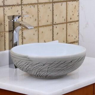 Exceptionnel Elite 1575 Round White / Grey Willow Porcelain Ceramic Bathroom Vessel Sink