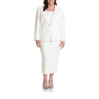 Mia-Knits Collections Women's Plus Size 3-piece Skirt Suit Rhinestone Trim