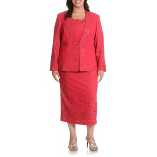 Mia-Knits Collections Women's Plus Size Rhinestone/ Glitter Scroll Detail 3-piece Skirt Suit