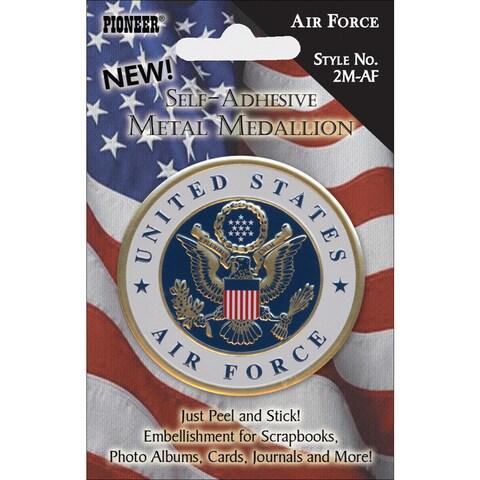 Military SelfAdhesive Metal Medallion 2inAir Force
