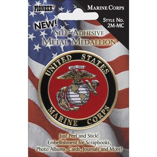 Military SelfAdhesive Metal Medallion 2inMarine Corps