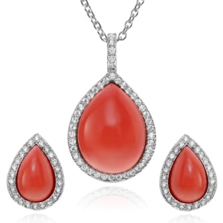 Journee Collection Sterling Silver Stone Teardop Necklace and Earring Set