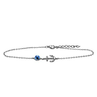 Journee Collection Rhodium-plated Sterling Silver CZ Anchor Evil Eye Bracelet