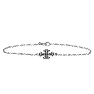 Journee Collection Rhodium-plated Sterling Silver CZ Cross Bracelet