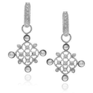 Journee Collection Rhodium-plated Sterling Silver CZ Pearl Dangle Earrings
