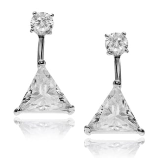 Journee Collection Rhodium-plated Sterling Silver CZ Trillion-cut Post Earrings