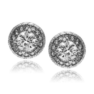 Journee Collection Rhodium-plated Sterling Silver CZ Round Stud Earring