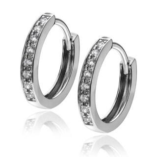 Journee Collection Rhodium-plated Sterling Silver CZ Huggie Hoop Earrings