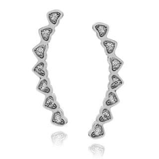 Journee Collection Rhodium-plated Sterling Silver Heart-Shaped CZ Post Earrings