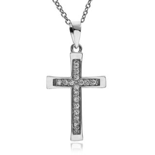 Journee Collection Rhodium-plated Sterling Silver CZ Cross Pendant