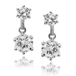 Journee Collection Rhodium-plated Sterling Silver CZ Round Dangle Earrings