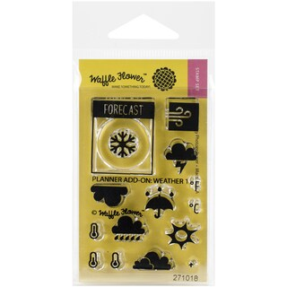 Waffle Flower Crafts Clear Stamps 2inX3inPlanner AddOn: Weather 1